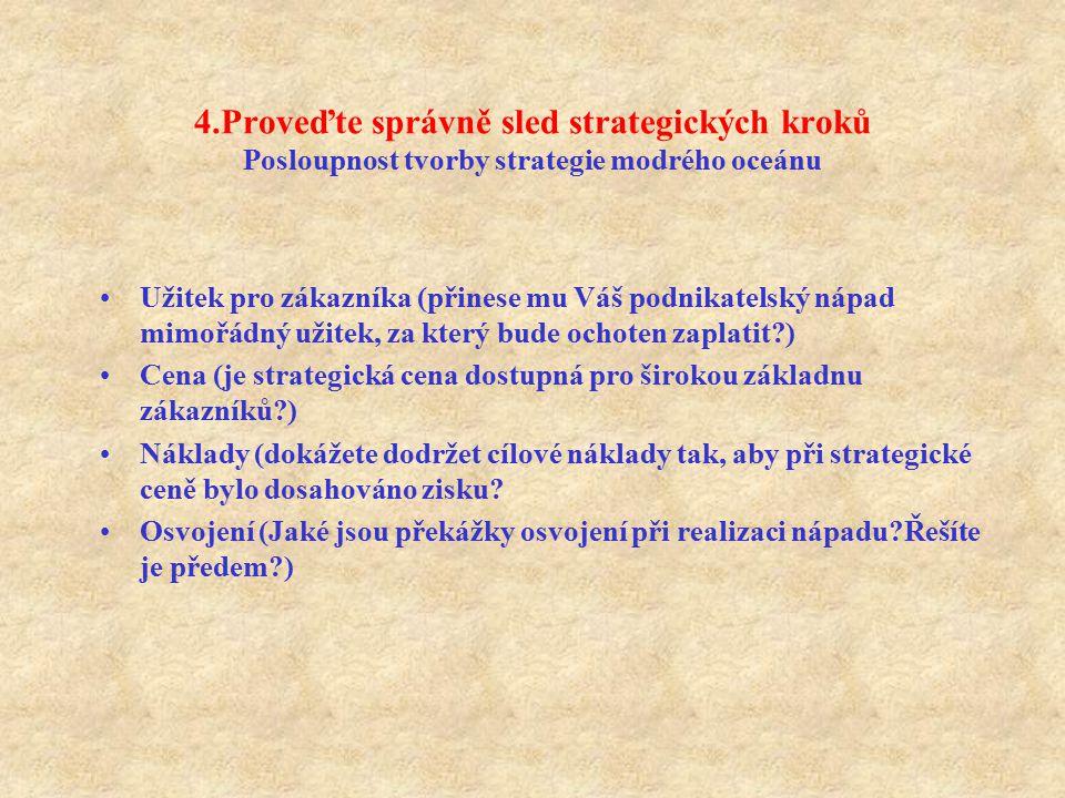 4.Proveďte správně sled strategických kroků Posloupnost tvorby strategie modrého oceánu Užitek pro zákazníka (přinese mu Váš podnikatelský nápad mimoř