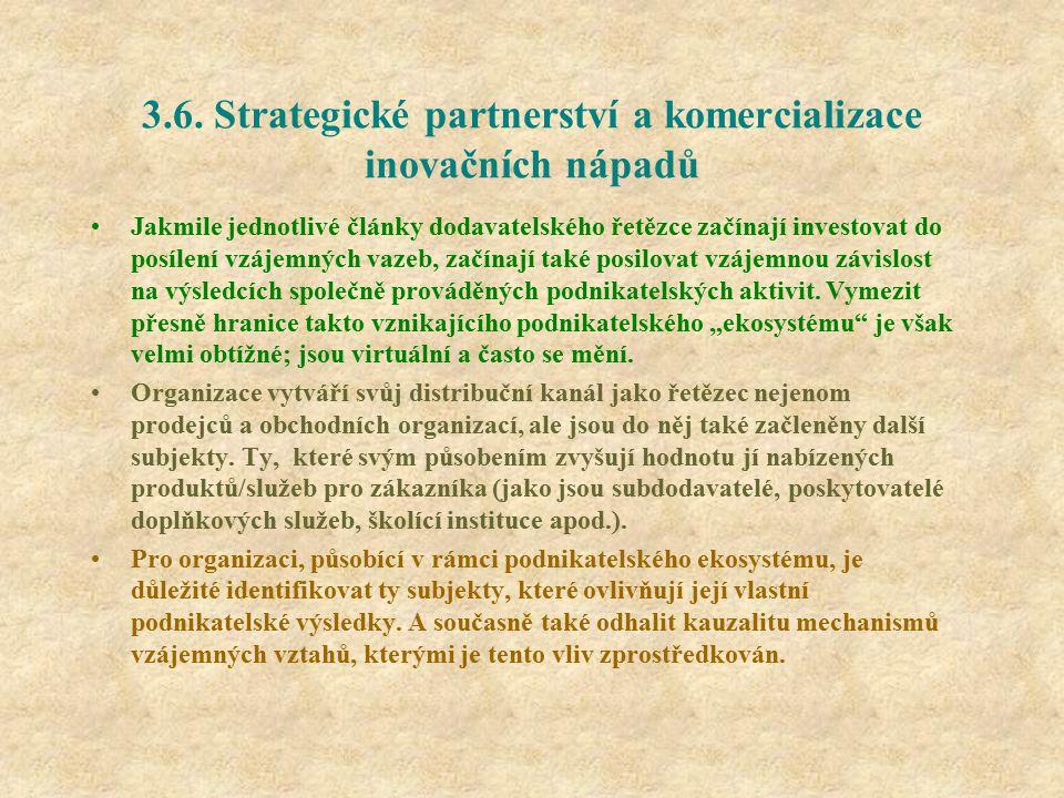3.6. Strategické partnerství a komercializace inovačních nápadů Jakmile jednotlivé články dodavatelského řetězce začínají investovat do posílení vzáje