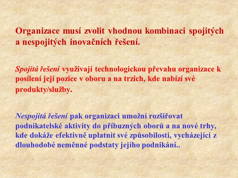 Organizace musí zvolit vhodnou kombinaci spojitých a nespojitých inovačních řešení. Spojitá řešení využívají technologickou převahu organizace k posíl