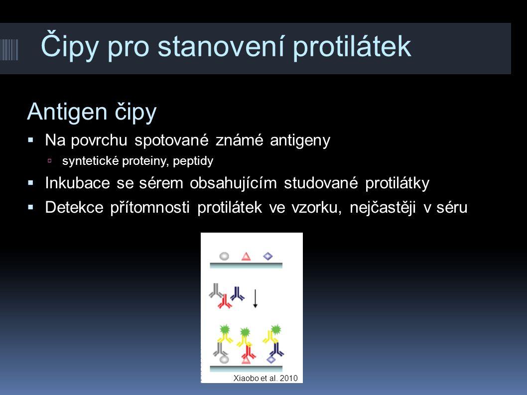 Čipy pro stanovení protilátek Antigen čipy  Na povrchu spotované známé antigeny  syntetické proteiny, peptidy  Inkubace se sérem obsahujícím studov