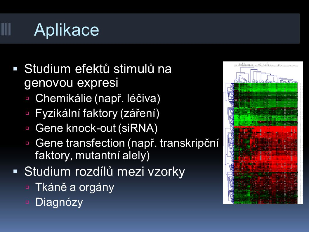 Aplikace  Studium efektů stimulů na genovou expresi  Chemikálie (např. léčiva)  Fyzikální faktory (záření)  Gene knock-out (siRNA)  Gene transfec