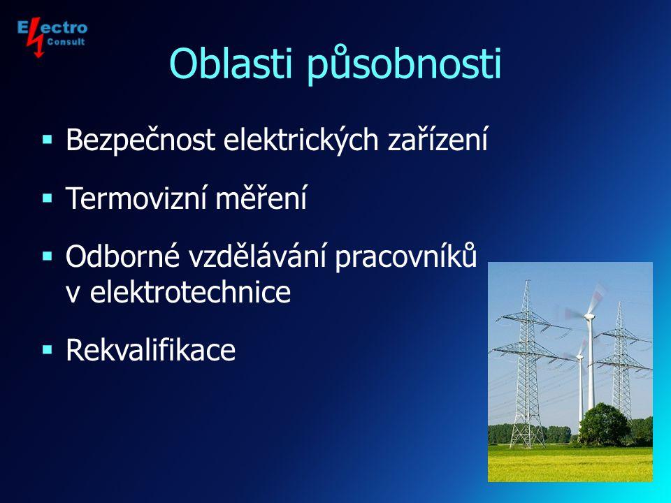 Profil firmy Společnost byla založena v roce 2005 a v oblasti provádění revizí elektrických zařízení a pořádání vzdělávacích akcí pro pracovníky v elektrotechnice navázala na činnost fyzické osoby Ing.