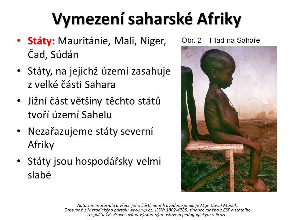 Vymezení saharské Afriky Státy: Státy: Mauritánie, Mali, Niger, Čad, Súdán Státy, na jejichž území zasahuje z velké části Sahara Jižní část většiny těchto států tvoří území Sahelu Nezařazujeme státy severní Afriky Státy jsou hospodářsky velmi slabé Obr.