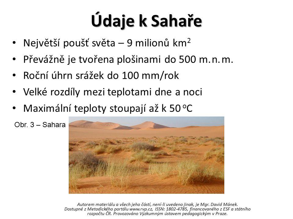 Údaje k Sahaře Největší poušť světa – 9 milionů km 2 Převážně je tvořena plošinami do 500 m. n. m. Roční úhrn srážek do 100 mm/rok Velké rozdíly mezi