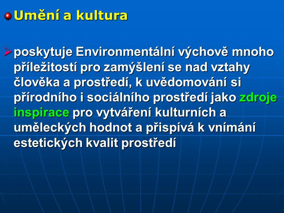 Člověk a svět práce  se realizuje prostřednictvím konkrétních pracovních aktivit ve prospěch životního prostředí  Umožňuje poznávat význam a role různých profesí ve vztahu k životnímu prostředí