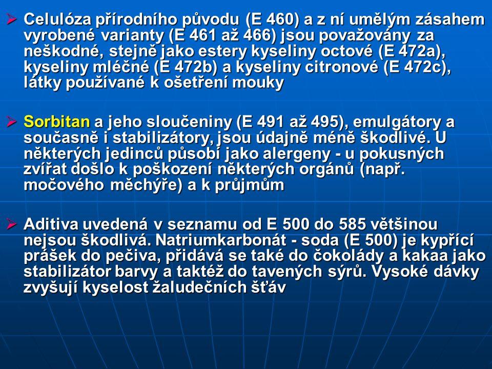  Chlorid ciničitý (E 512) lze v omezeném množství přidávat jako antioxidant do konzerv  Potraviny obsahující aditivum hliník a jeho sloučeniny (E 520 až 523) nejsou vhodné pro osoby trpící nemocemi ledvin, u hliníku (aluminium) navíc existuje možnost, že se podílí na vzniku Alzheimerovy choroby  Antiaglomerační činidla, zabraňující hrudkovatění , spékání sypkých látek - pro kuchyňskou sůl natrium-, kalium- a calcium-ferokyanid (E 535, E 536, E 538), obsahují prudce jedovatý kyanovodík, ovšem ve zcela bezrizikovém množství  E 536 (kaliumferokyanid) způsobil u pokusných zvířat poškození ledvin.