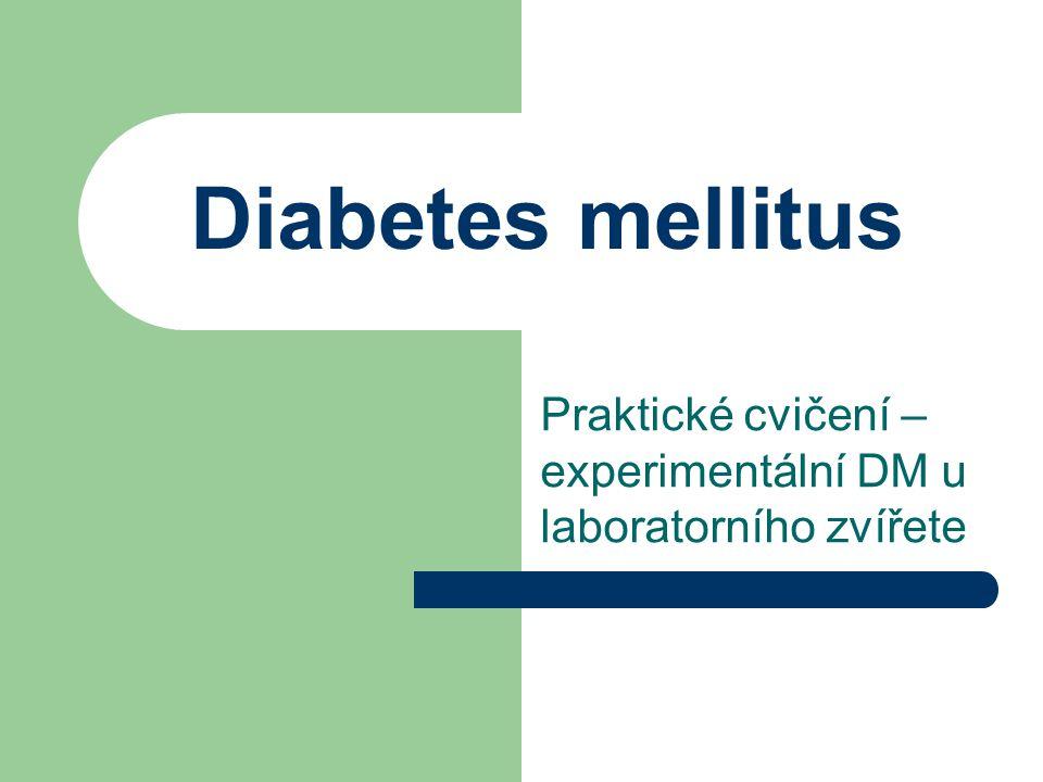 Diabetes mellitus Praktické cvičení – experimentální DM u laboratorního zvířete