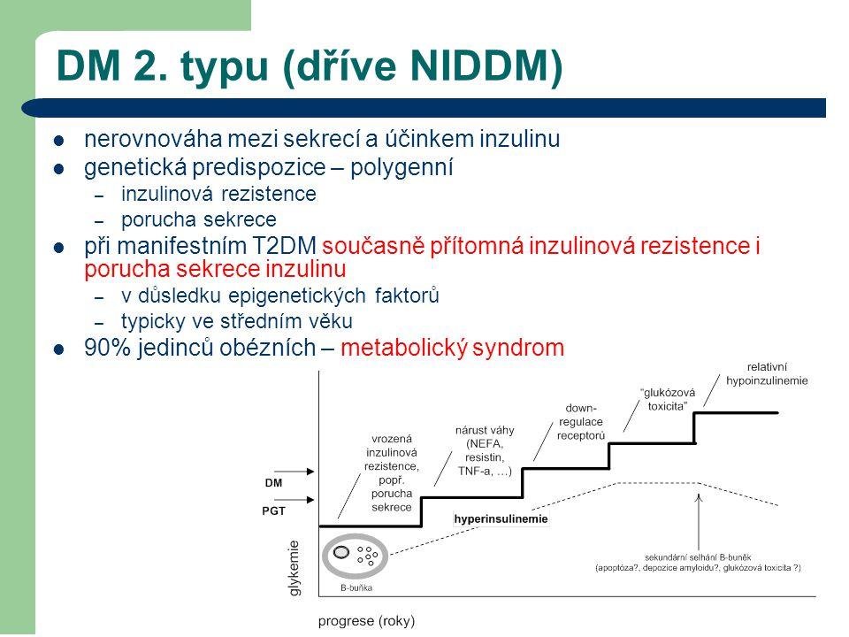 DM 2. typu (dříve NIDDM) nerovnováha mezi sekrecí a účinkem inzulinu genetická predispozice – polygenní – inzulinová rezistence – porucha sekrece při