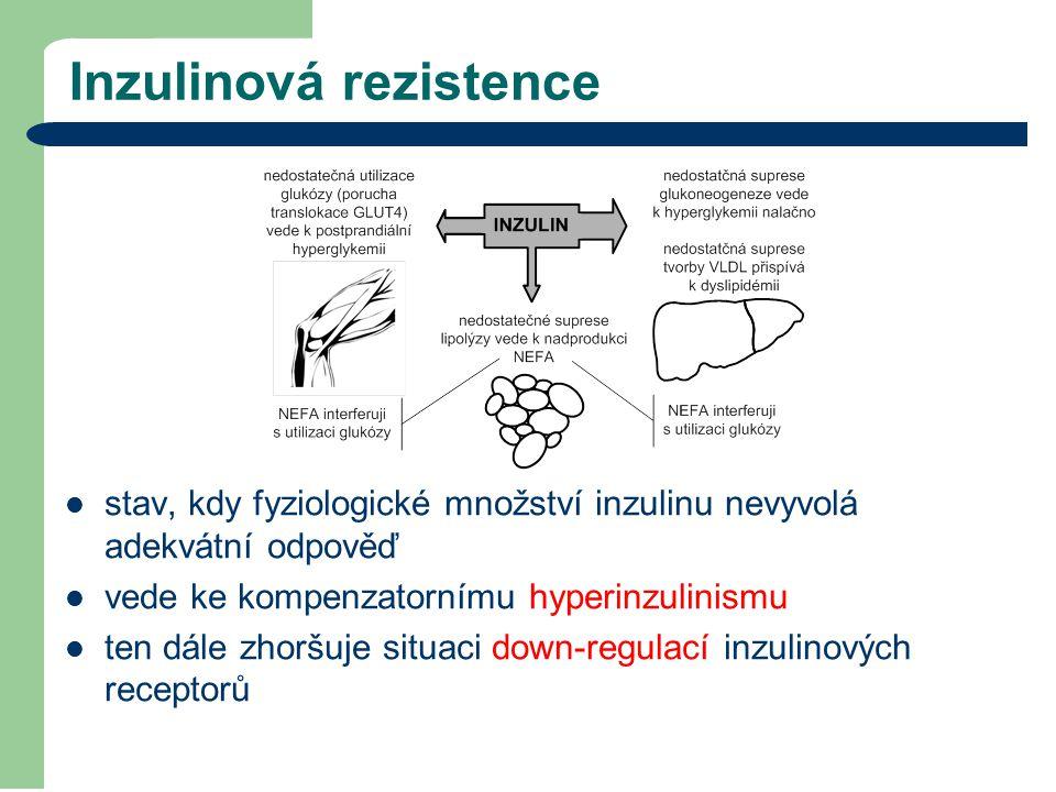 Inzulinová rezistence stav, kdy fyziologické množství inzulinu nevyvolá adekvátní odpověď vede ke kompenzatornímu hyperinzulinismu ten dále zhoršuje s