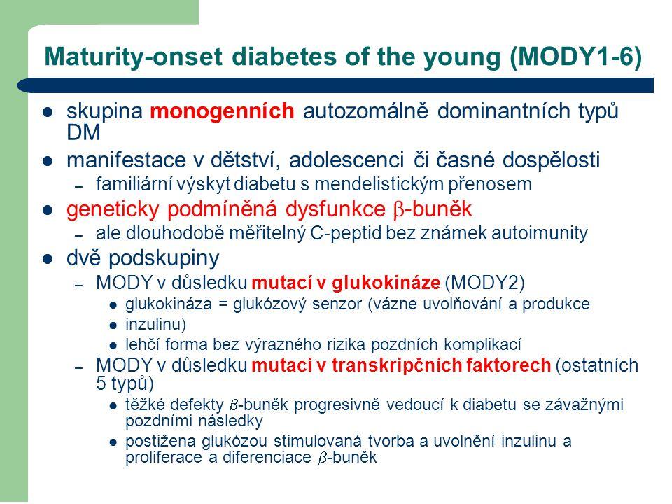 Maturity-onset diabetes of the young (MODY1-6) skupina monogenních autozomálně dominantních typů DM manifestace v dětství, adolescenci či časné dospěl