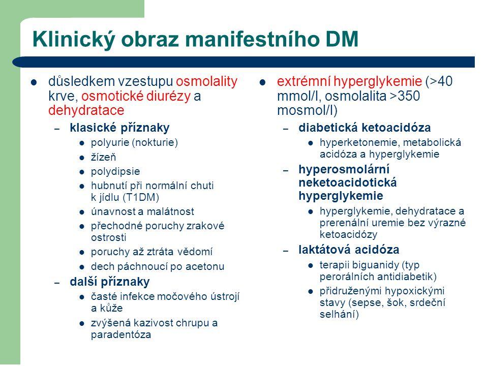 Klinický obraz manifestního DM důsledkem vzestupu osmolality krve, osmotické diurézy a dehydratace – klasické příznaky polyurie (nokturie) žízeň polyd