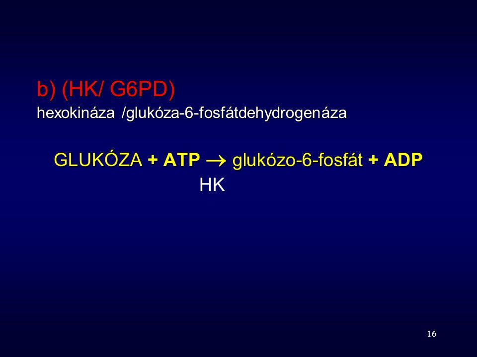 16 b) (HK/ G6PD) hexokináza /glukóza-6-fosfátdehydrogenáza GLUKÓZA + ATP  glukózo-6-fosfát + ADP HK