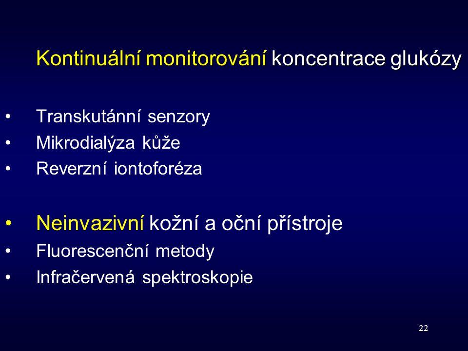22 Kontinuální monitorování koncentrace glukózy Transkutánní senzory Mikrodialýza kůže Reverzní iontoforéza Neinvazivní kožní a oční přístroje Fluores