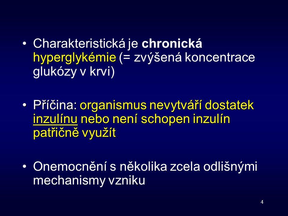 4 hyperglykémieCharakteristická je chronická hyperglykémie (= zvýšená koncentrace glukózy v krvi) Příčina:organismus nevytváří dostatek inzulínu nebo