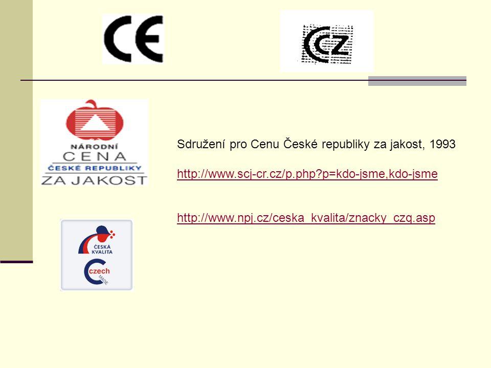 Sdružení pro Cenu České republiky za jakost, 1993 http://www.scj-cr.cz/p.php?p=kdo-jsme,kdo-jsme http://www.npj.cz/ceska_kvalita/znacky_czq.asp