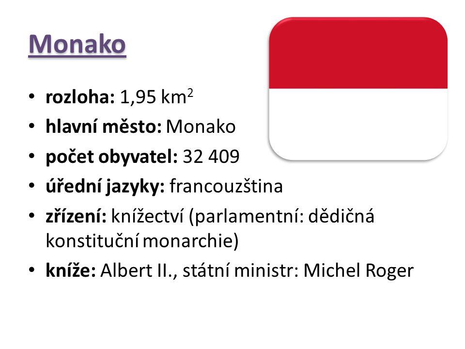 Monako rozloha: 1,95 km 2 hlavní město: Monako počet obyvatel: 32 409 úřední jazyky: francouzština zřízení: knížectví (parlamentní: dědičná konstitučn