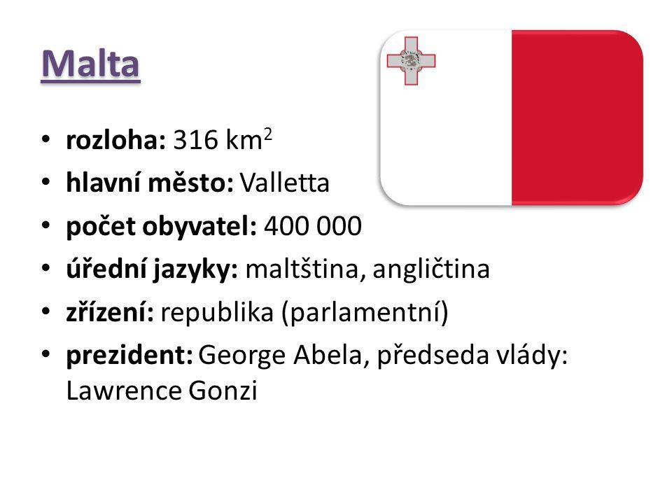 Malta rozloha: 316 km 2 hlavní město: Valletta počet obyvatel: 400 000 úřední jazyky: maltština, angličtina zřízení: republika (parlamentní) prezident