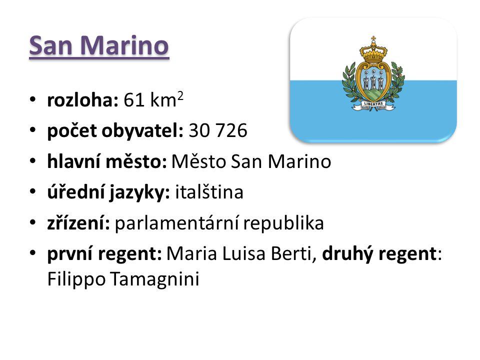 San Marino rozloha: 61 km 2 počet obyvatel: 30 726 hlavní město: Město San Marino úřední jazyky: italština zřízení: parlamentární republika první rege