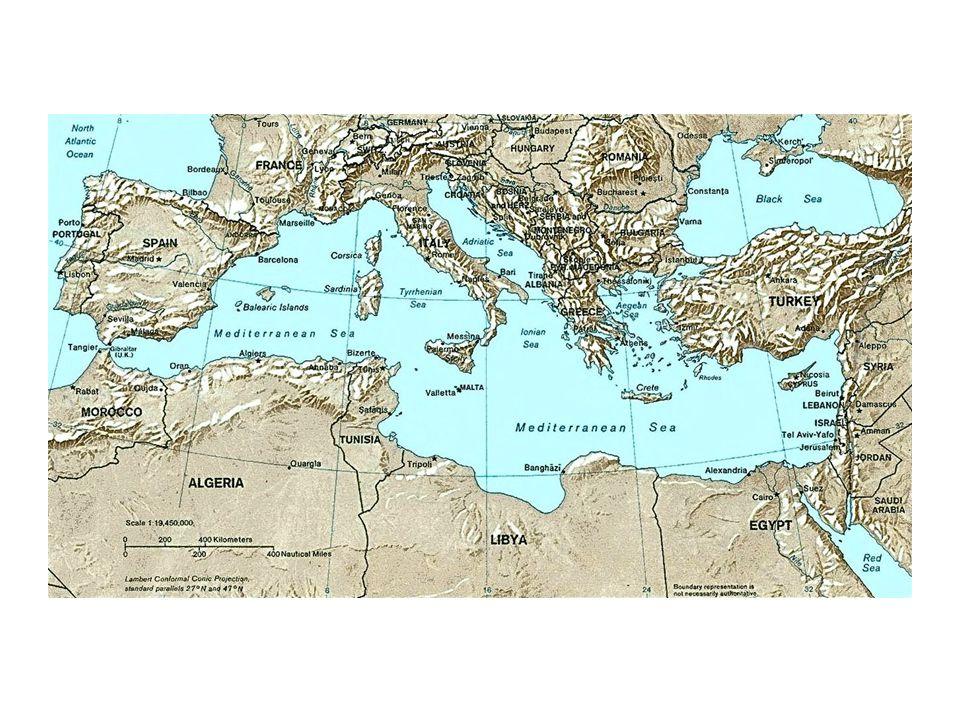 moře: – Baleárské – Ligurské – Tyrhénské – Iónské – Egejské – Marmarské ostrovy: – Ibiza – Mallorca – Menorca – Sardínie – Korsika – Sicílie – Malta – Kypr – Kréta – Euboia – Rhodos – Chios – Kefalonia – Korfu Poloostrovy: – Pyrenejský – Apeninský – Balkánský – Malá Asie