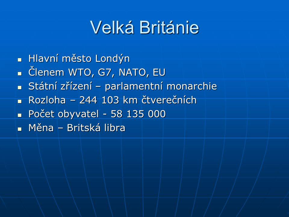 Velká Británie Hlavní město Londýn Hlavní město Londýn Členem WTO, G7, NATO, EU Členem WTO, G7, NATO, EU Státní zřízení – parlamentní monarchie Státní
