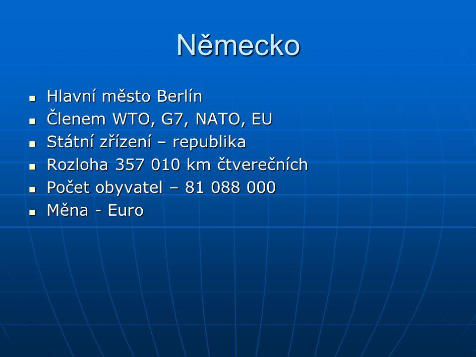 Německo Hlavní město Berlín Hlavní město Berlín Členem WTO, G7, NATO, EU Členem WTO, G7, NATO, EU Státní zřízení – republika Státní zřízení – republik