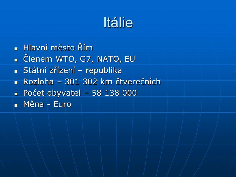 Itálie Hlavní město Řím Hlavní město Řím Členem WTO, G7, NATO, EU Členem WTO, G7, NATO, EU Státní zřízení – republika Státní zřízení – republika Rozlo