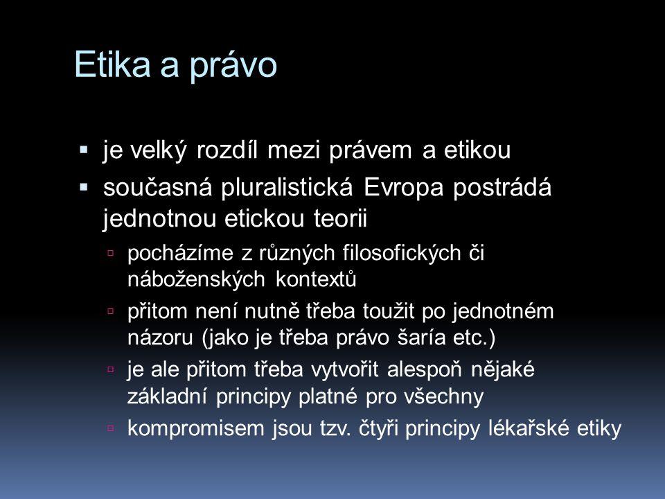 Etika a právo  je velký rozdíl mezi právem a etikou  současná pluralistická Evropa postrádá jednotnou etickou teorii  pocházíme z různých filosofických či náboženských kontextů  přitom není nutně třeba toužit po jednotném názoru (jako je třeba právo šaría etc.)  je ale přitom třeba vytvořit alespoň nějaké základní principy platné pro všechny  kompromisem jsou tzv.
