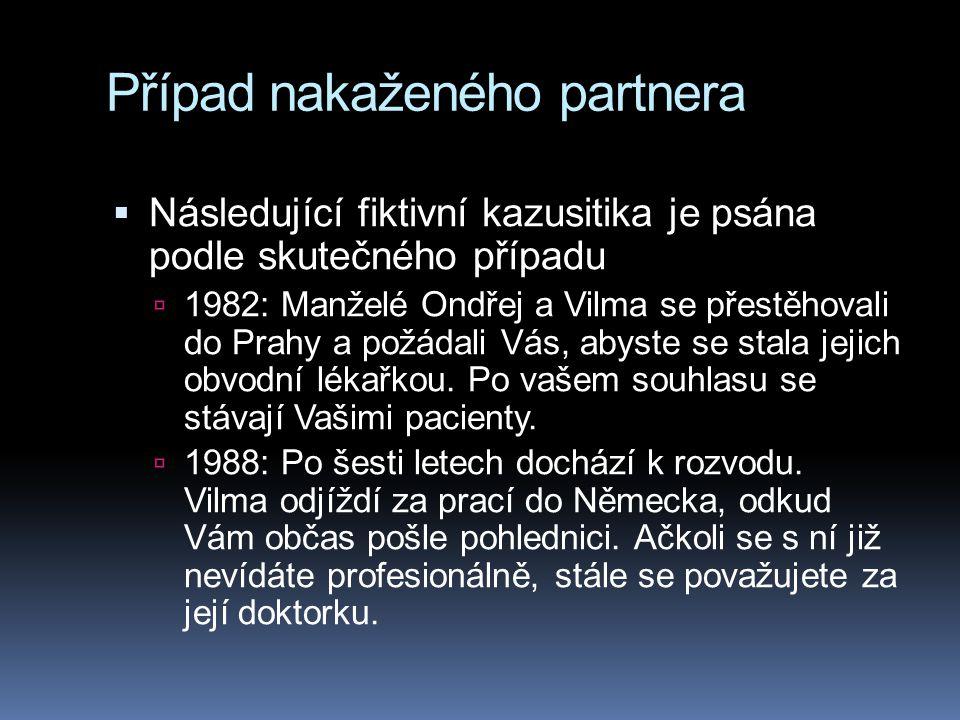 Případ nakaženého partnera  Následující fiktivní kazusitika je psána podle skutečného případu  1982: Manželé Ondřej a Vilma se přestěhovali do Prahy a požádali Vás, abyste se stala jejich obvodní lékařkou.