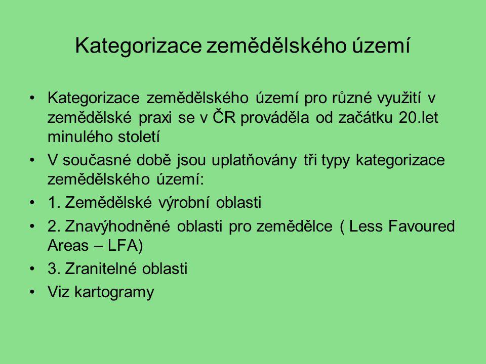 Kategorizace zemědělského území Kategorizace zemědělského území pro různé využití v zemědělské praxi se v ČR prováděla od začátku 20.let minulého století V současné době jsou uplatňovány tři typy kategorizace zemědělského území: 1.