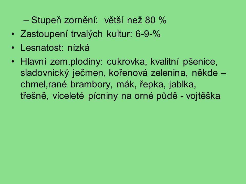 –Stupeň zornění: větší než 80 % Zastoupení trvalých kultur: 6-9-% Lesnatost: nízká Hlavní zem.plodiny: cukrovka, kvalitní pšenice, sladovnický ječmen, kořenová zelenina, někde – chmel,rané brambory, mák, řepka, jablka, třešně, víceleté pícniny na orné půdě - vojtěška