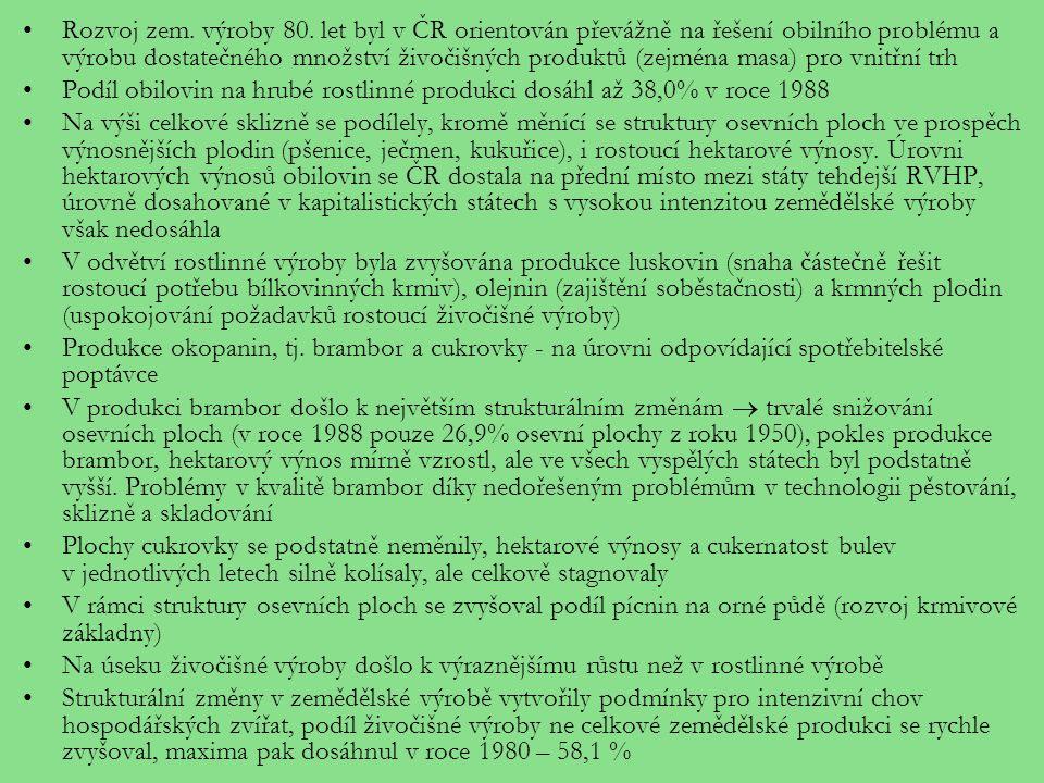 Rozvoj zem. výroby 80. let byl v ČR orientován převážně na řešení obilního problému a výrobu dostatečného množství živočišných produktů (zejména masa)