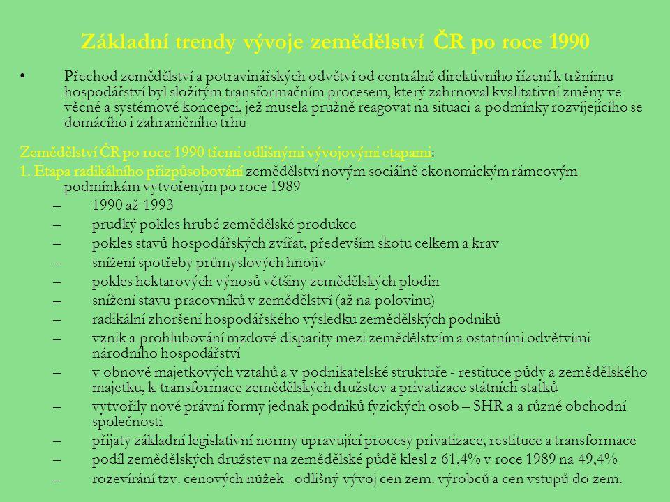 Základní trendy vývoje zemědělství ČR po roce 1990 Přechod zemědělství a potravinářských odvětví od centrálně direktivního řízení k tržnímu hospodářství byl složitým transformačním procesem, který zahrnoval kvalitativní změny ve věcné a systémové koncepci, jež musela pružně reagovat na situaci a podmínky rozvíjejícího se domácího i zahraničního trhu Zemědělství ČR po roce 1990 třemi odlišnými vývojovými etapami: 1.