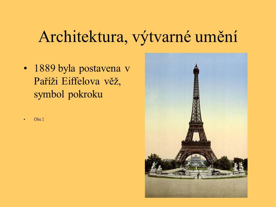 Architektura, výtvarné umění 1889 byla postavena v Paříži Eiffelova věž, symbol pokroku Obr.1