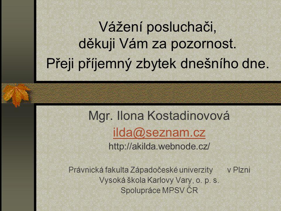 Vážení posluchači, děkuji Vám za pozornost. Přeji příjemný zbytek dnešního dne. Mgr. Ilona Kostadinovová ilda@seznam.cz http://akilda.webnode.cz/ Práv