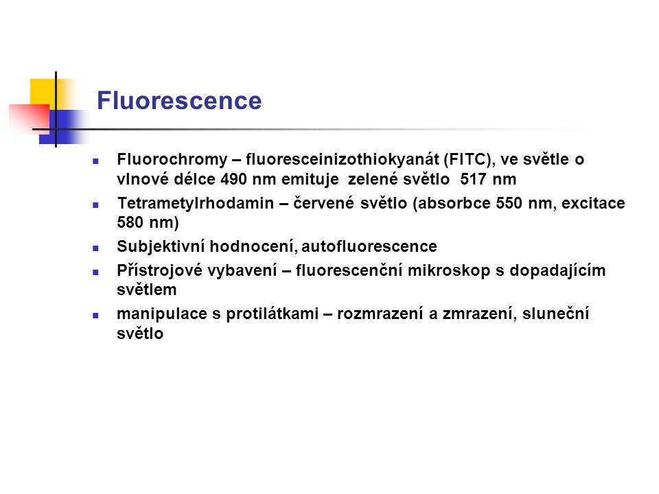 Fluorescence Fluorochromy – fluoresceinizothiokyanát (FITC), ve světle o vlnové délce 490 nm emituje zelené světlo 517 nm Tetrametylrhodamin – červené světlo (absorbce 550 nm, excitace 580 nm) Subjektivní hodnocení, autofluorescence Přístrojové vybavení – fluorescenční mikroskop s dopadajícím světlem manipulace s protilátkami – rozmrazení a zmrazení, sluneční světlo