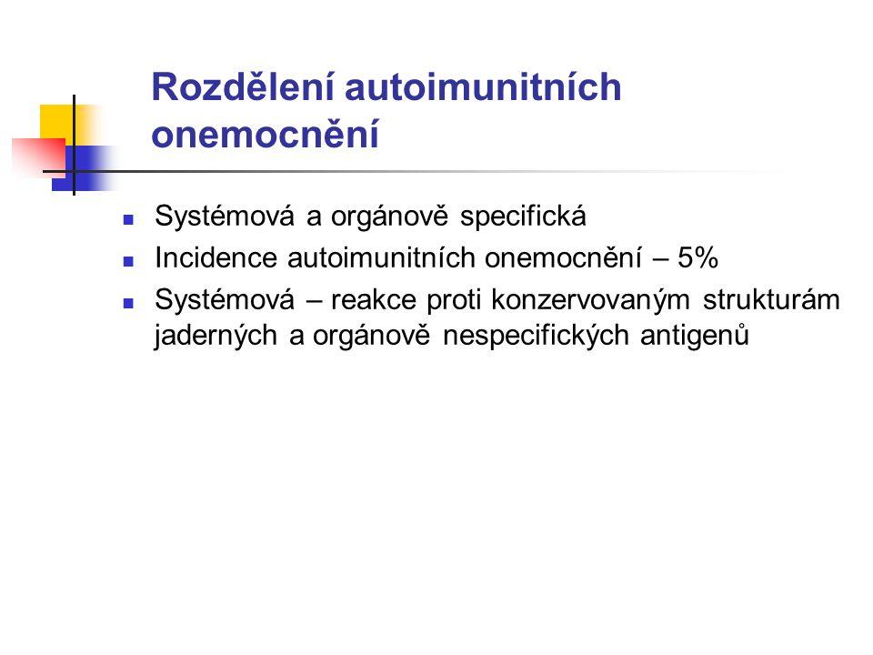 Rozdělení autoimunitních onemocnění Systémová a orgánově specifická Incidence autoimunitních onemocnění – 5% Systémová – reakce proti konzervovaným strukturám jaderných a orgánově nespecifických antigenů