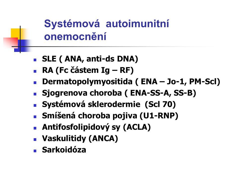 Systémová autoimunitní onemocnění SLE ( ANA, anti-ds DNA) RA (Fc částem Ig – RF) Dermatopolymyositida ( ENA – Jo-1, PM-Scl) Sjogrenova choroba ( ENA-SS-A, SS-B) Systémová sklerodermie (Scl 70) Smíšená choroba pojiva (U1-RNP) Antifosfolipidový sy (ACLA) Vaskulitidy (ANCA) Sarkoidóza