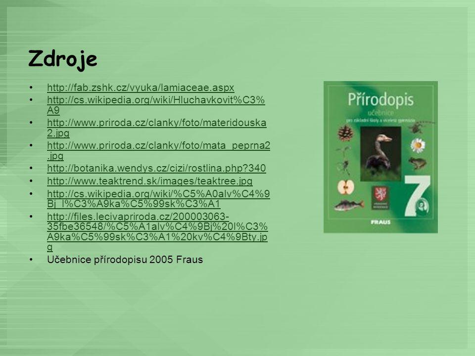 Zdroje http://fab.zshk.cz/vyuka/lamiaceae.aspx http://cs.wikipedia.org/wiki/Hluchavkovit%C3% A9http://cs.wikipedia.org/wiki/Hluchavkovit%C3% A9 http:/