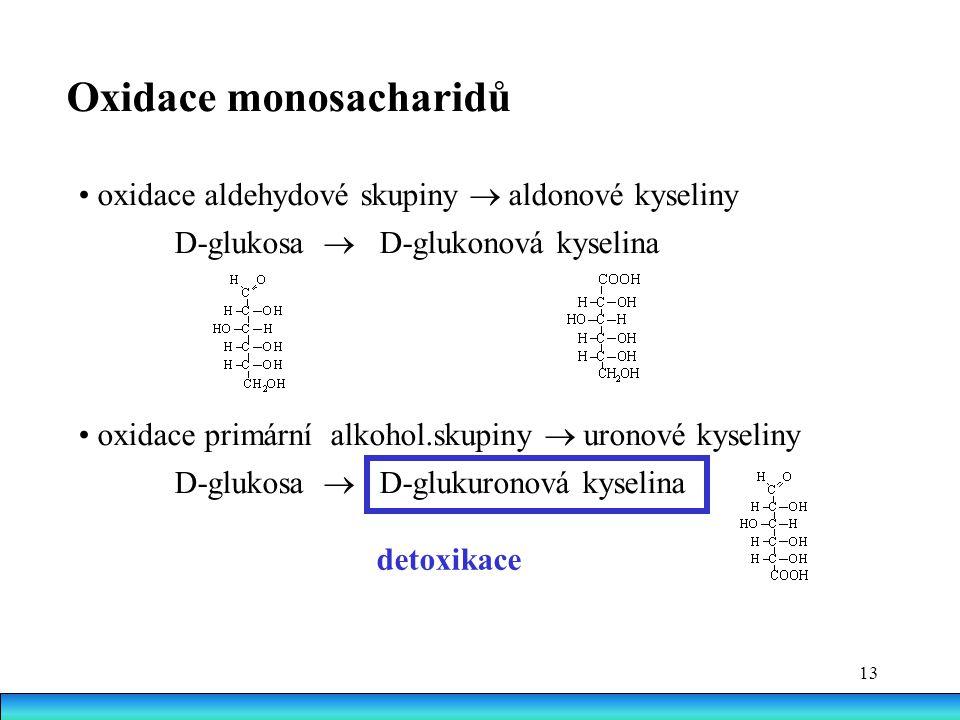 13 Oxidace monosacharidů oxidace aldehydové skupiny  aldonové kyseliny D-glukosa  D-glukonová kyselina oxidace primární alkohol.skupiny  uronové kyseliny D-glukosa  D-glukuronová kyselina detoxikace