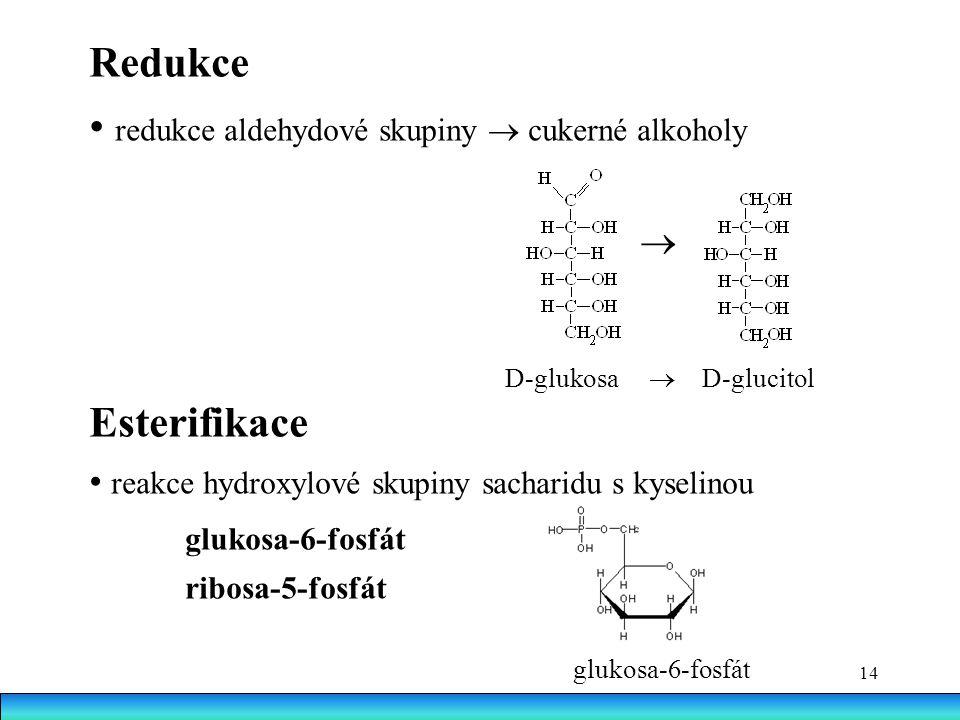 14 Redukce redukce aldehydové skupiny  cukerné alkoholy  D-glukosa  D-glucitol Esterifikace reakce hydroxylové skupiny sacharidu s kyselinou glukosa-6-fosfát ribosa-5-fosfát glukosa-6-fosfát