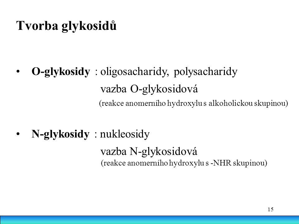 15 Tvorba glykosidů O-glykosidy : oligosacharidy, polysacharidy vazba O-glykosidová (reakce anomerního hydroxylu s alkoholickou skupinou) N-glykosidy : nukleosidy vazba N-glykosidová (reakce anomerního hydroxylu s -NHR skupinou)