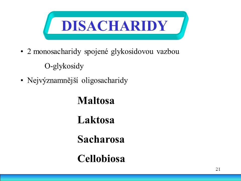 21 DISACHARIDY 2 monosacharidy spojené glykosidovou vazbou O-glykosidy Nejvýznamnější oligosacharidy Maltosa Laktosa Sacharosa Cellobiosa