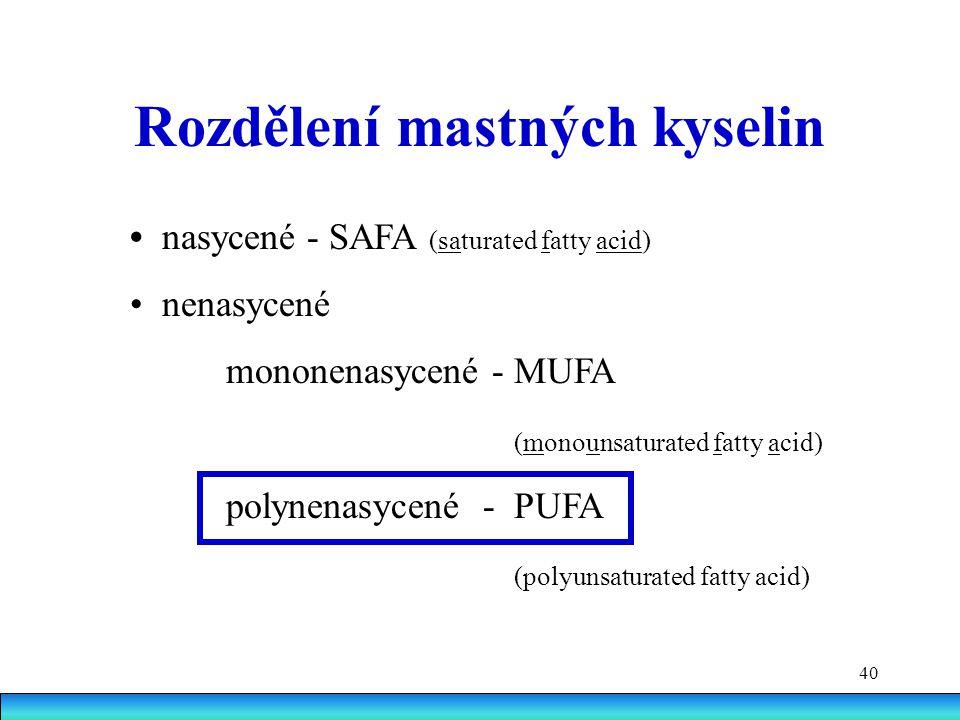40 Rozdělení mastných kyselin nasycené - SAFA (saturated fatty acid) nenasycené mononenasycené - MUFA (monounsaturated fatty acid) polynenasycené - PUFA (polyunsaturated fatty acid)