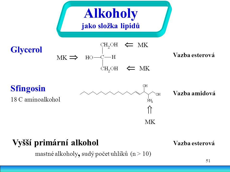 51 Alkoholy jako složka lipidů Glycerol  MK MK   MK Vazba esterová Sfingosin 18 C aminoalkohol  MK Vazba amidová Vyšší primární alkohol Vazba esterová mastné alkoholy, sudý počet uhlíků (n > 10)