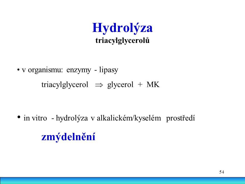 54 Hydrolýza triacylglycerolů v organismu: enzymy - lipasy triacylglycerol  glycerol + MK in vitro - hydrolýza v alkalickém/kyselém prostředí zmýdelnění