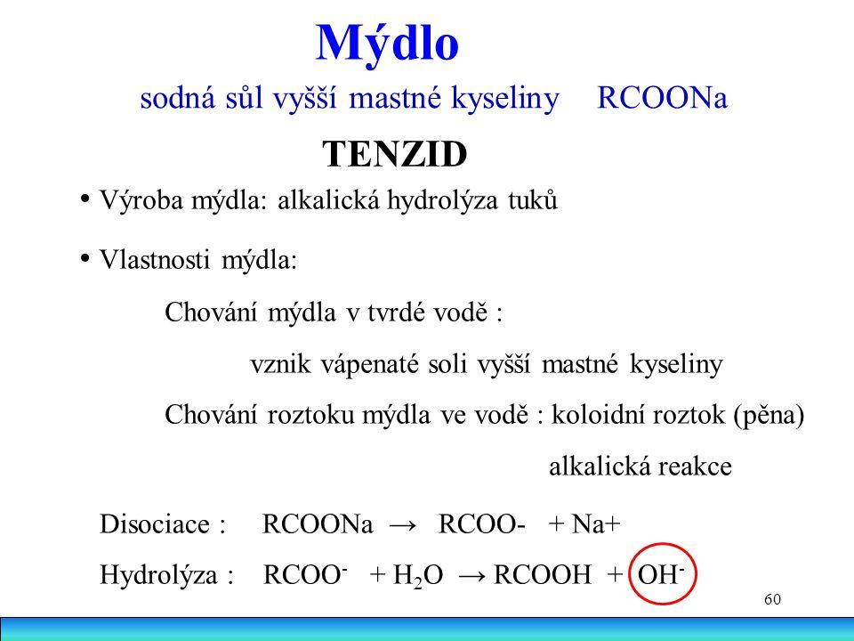 60 Mýdlo sodná sůl vyšší mastné kyseliny RCOONa Výroba mýdla: alkalická hydrolýza tuků Vlastnosti mýdla: Chování mýdla v tvrdé vodě : vznik vápenaté soli vyšší mastné kyseliny Chování roztoku mýdla ve vodě : koloidní roztok (pěna) alkalická reakce TENZID Disociace : RCOONa → RCOO- + Na+ Hydrolýza : RCOO - + H 2 O → RCOOH + OH -