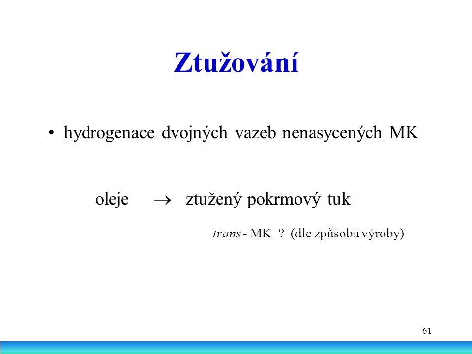 61 Ztužování hydrogenace dvojných vazeb nenasycených MK oleje  ztužený pokrmový tuk trans - MK .