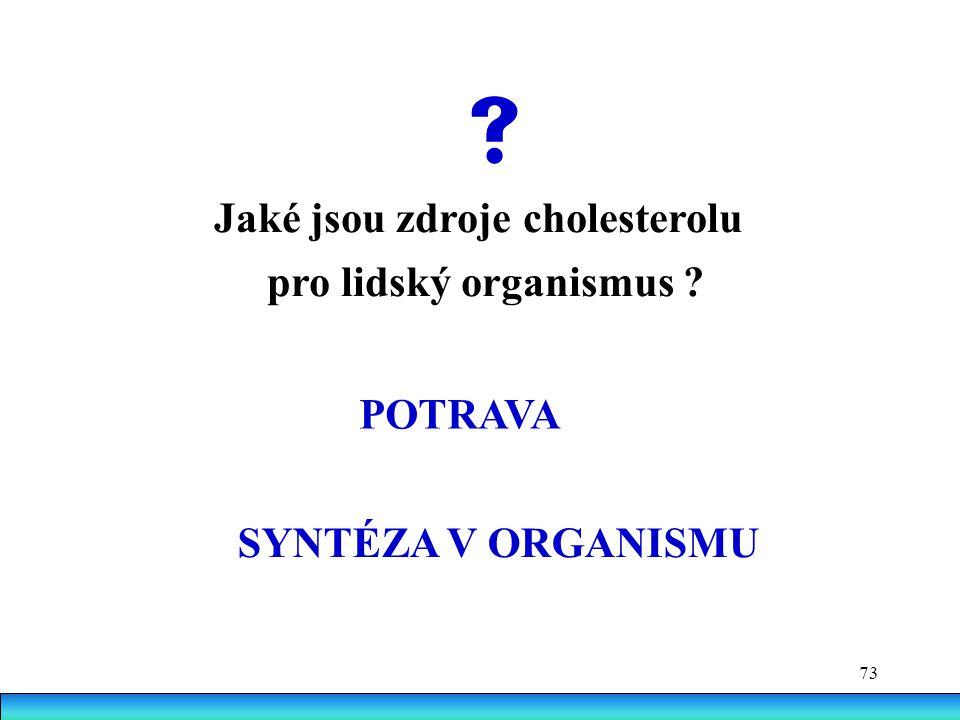 73 Jaké jsou zdroje cholesterolu pro lidský organismus ? POTRAVA SYNTÉZA V ORGANISMU 
