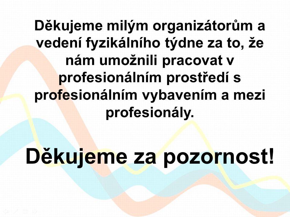 Děkujeme za pozornost! Děkujeme milým organizátorům a vedení fyzikálního týdne za to, že nám umožnili pracovat v profesionálním prostředí s profesioná