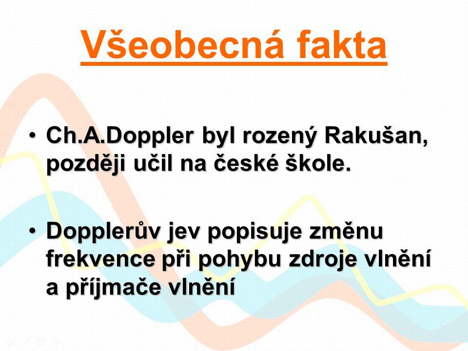 Všeobecná fakta Ch.A.Doppler byl rozený Rakušan, později učil na české škole.Ch.A.Doppler byl rozený Rakušan, později učil na české škole. Dopplerův j